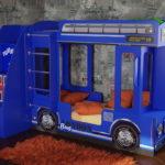 кровать-машина для мальчика под синий автобус