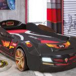 черная спортивная кровать-машина для мальчика
