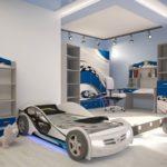 кровать-машина для мальчика для просторной комнаты