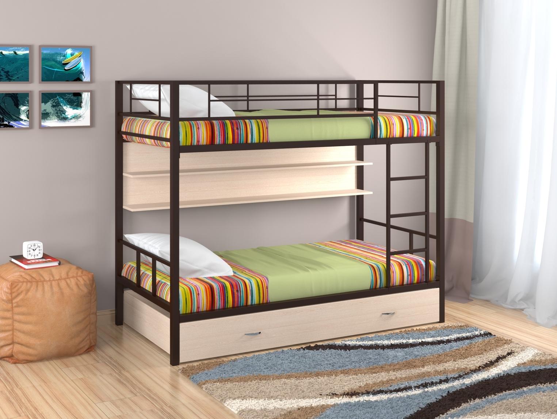 металлическая двухъярусная кровать фото