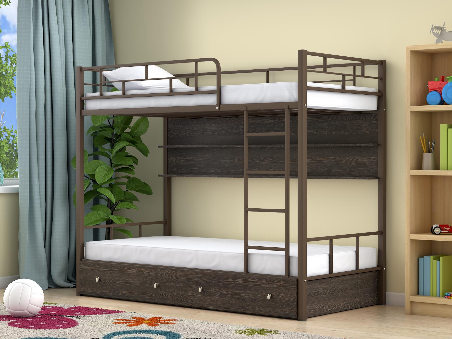 кровать двухъярусная металлическая с полками