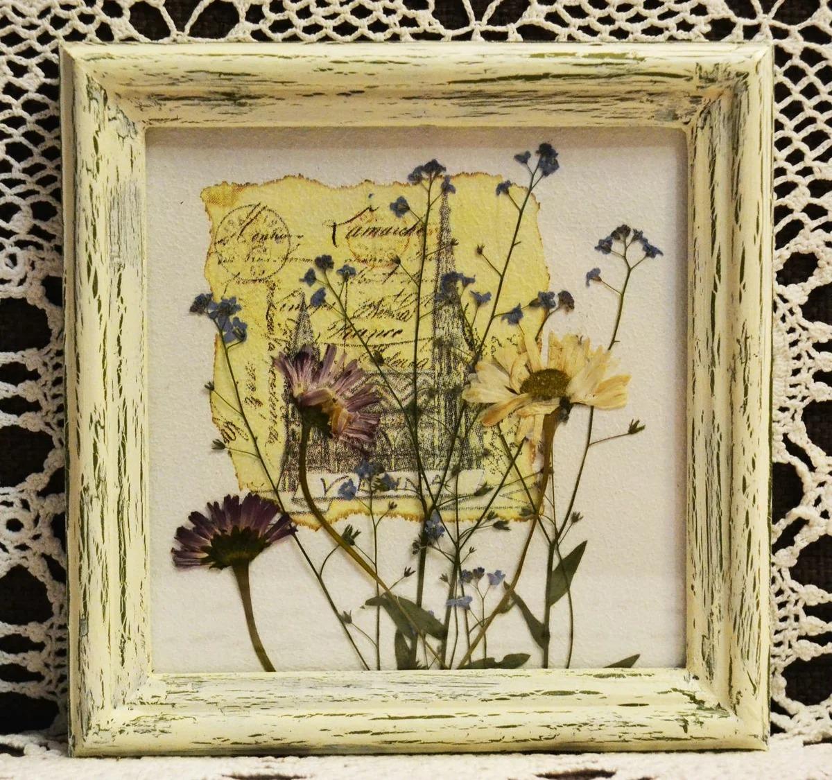 поделки из сушеных цветов