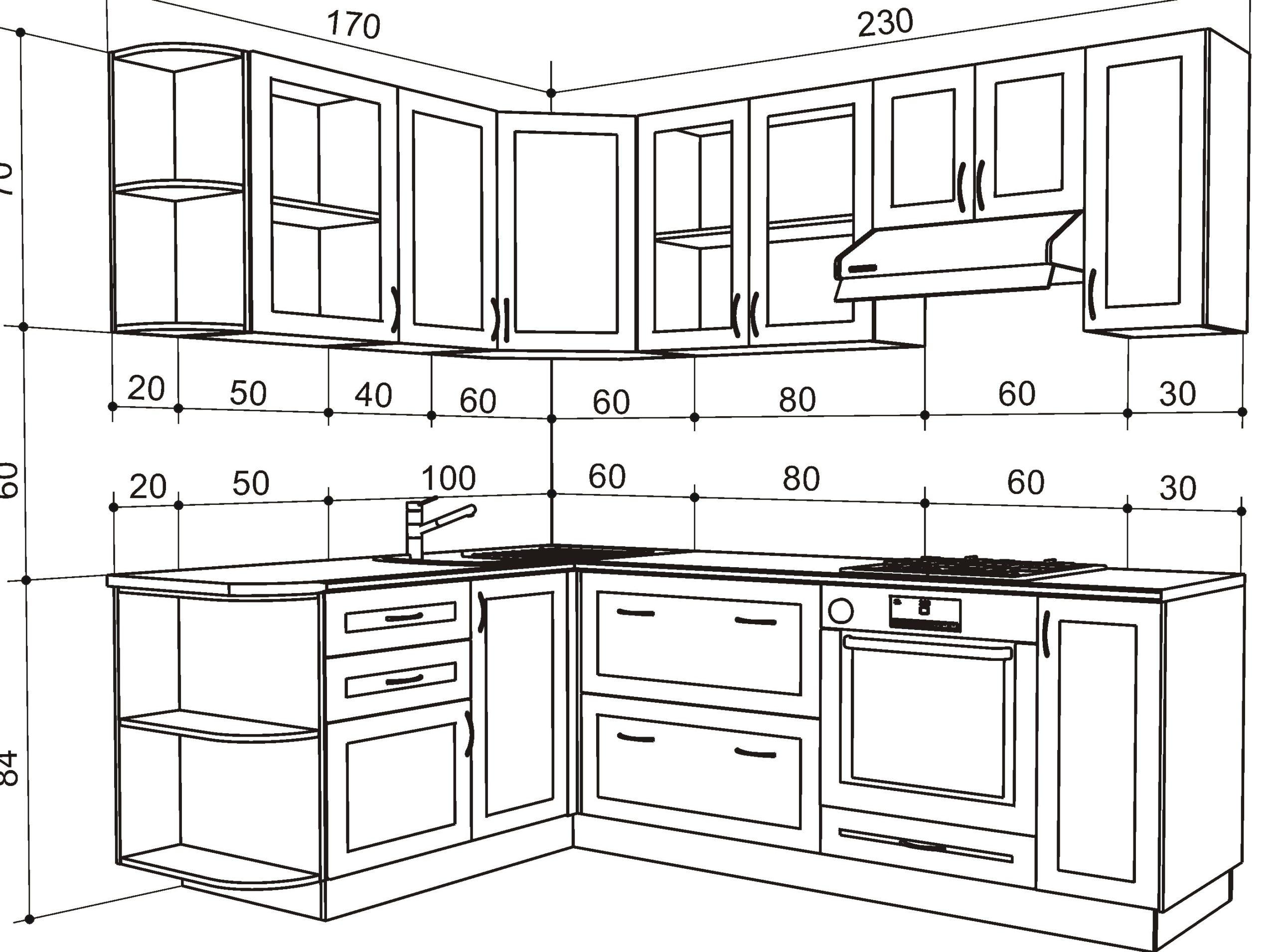 чертеж кухонных шкафов стандартный