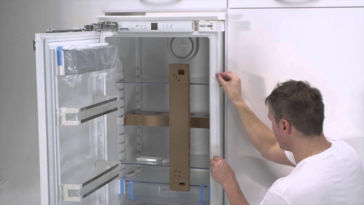 встраивание холодильника в шкаф