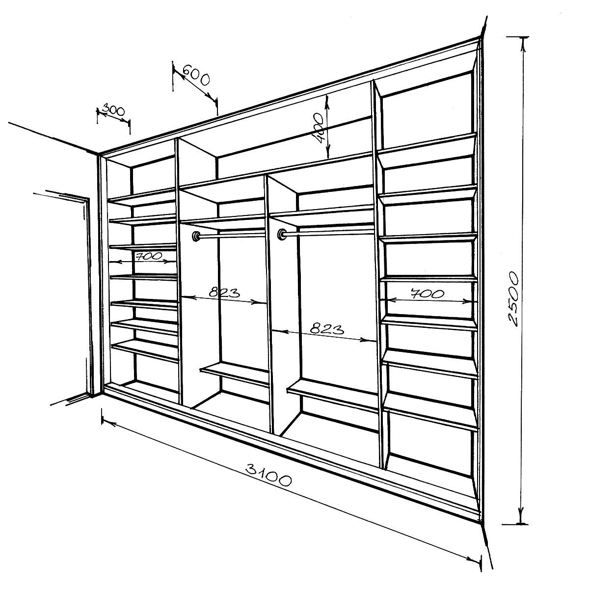 шкаф из гипсокартона чертеж