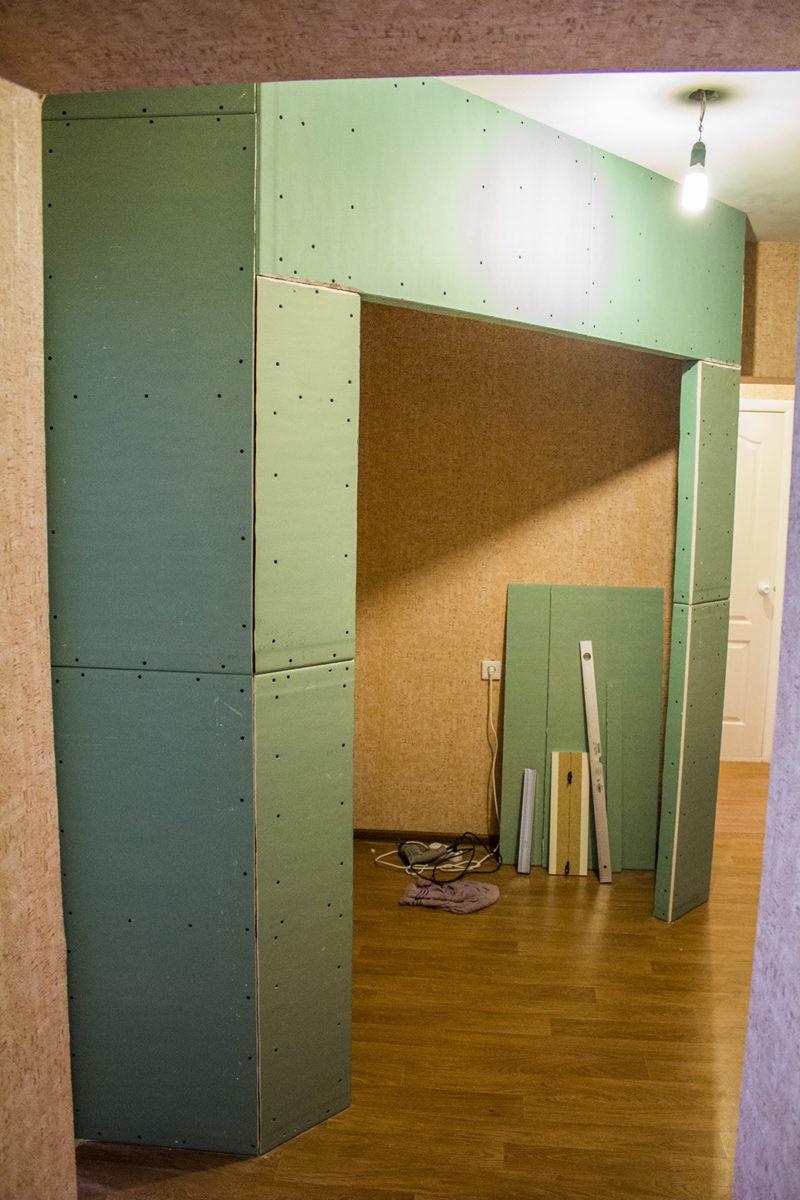 шкаф из гипсокартона строится