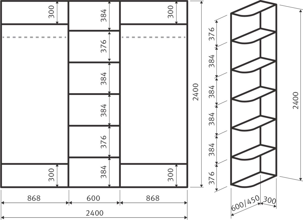 схема шкафа на балкон