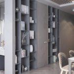 шкаф-перегородка серый стеллаж