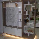 шкаф-перегородка стеллаж бежевый с белым