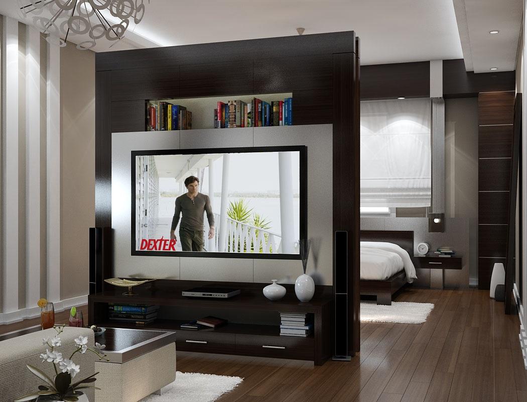 шкаф перегородка с телевизором