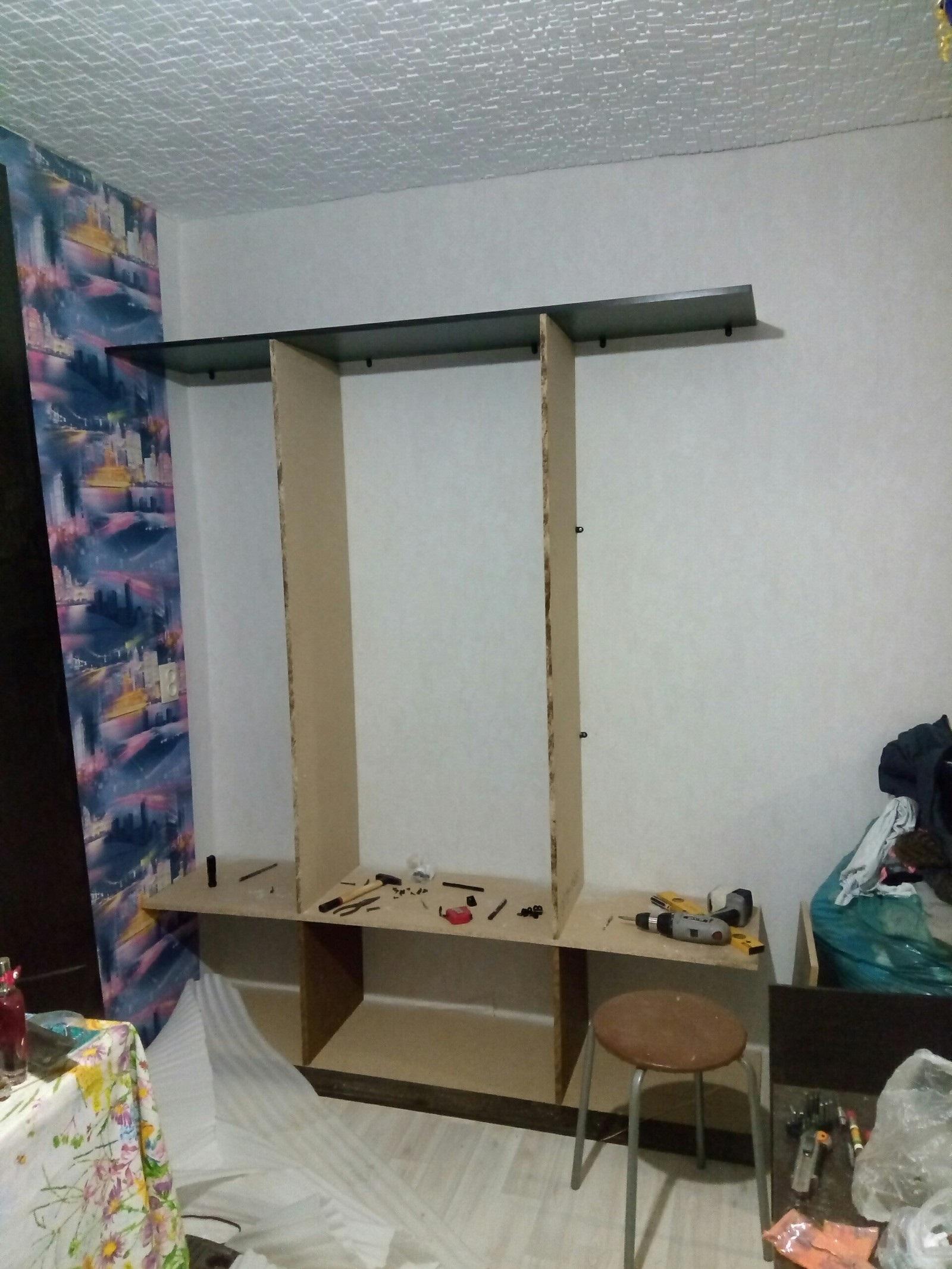 монтаж каркаса шкафа