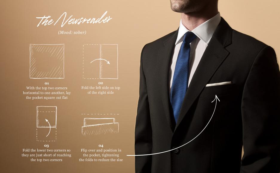 варианты складывания платочка в карман пиджака