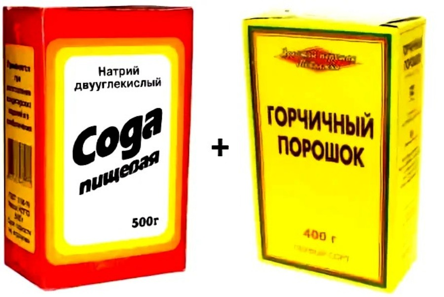 сода и горчица для посуды