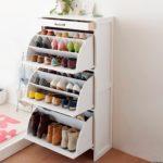 белый стеллаж для хранения обуви