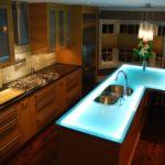 столешница для кухни с подсветкой