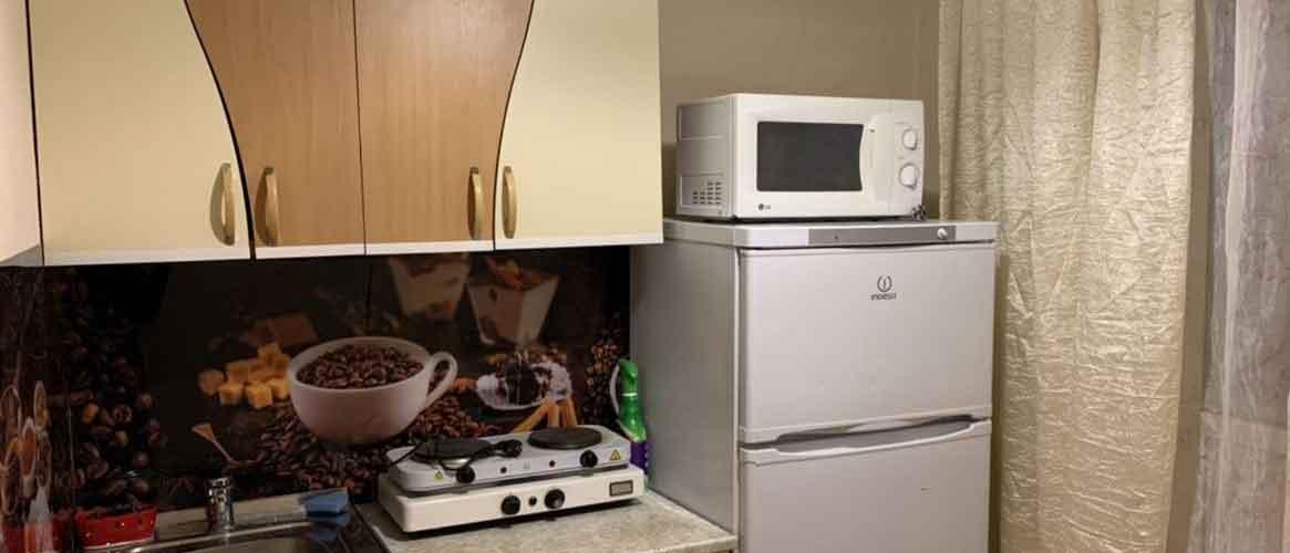 микроволновая печь на холодильнике