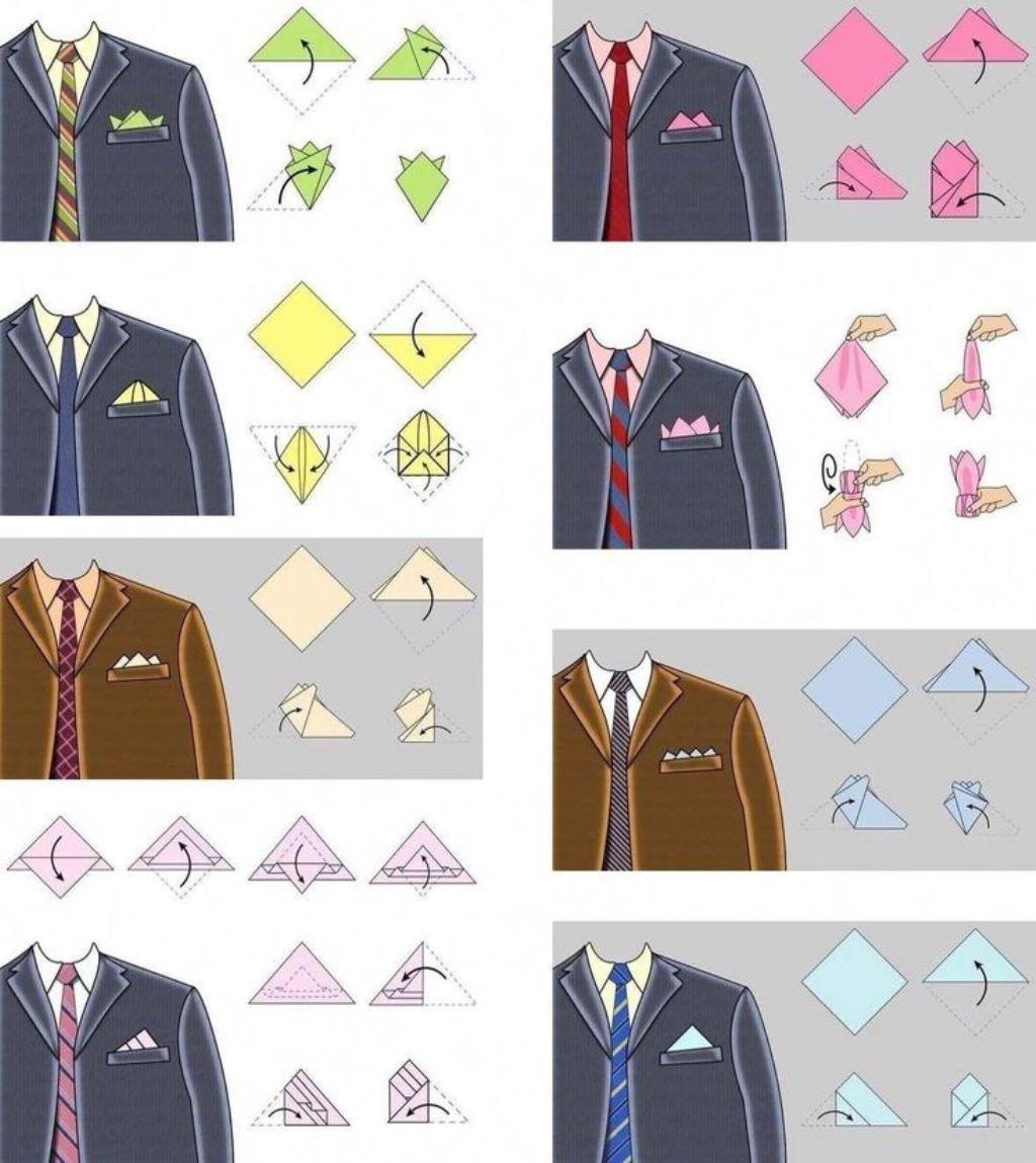 варианты складывания платков в карман пиджака