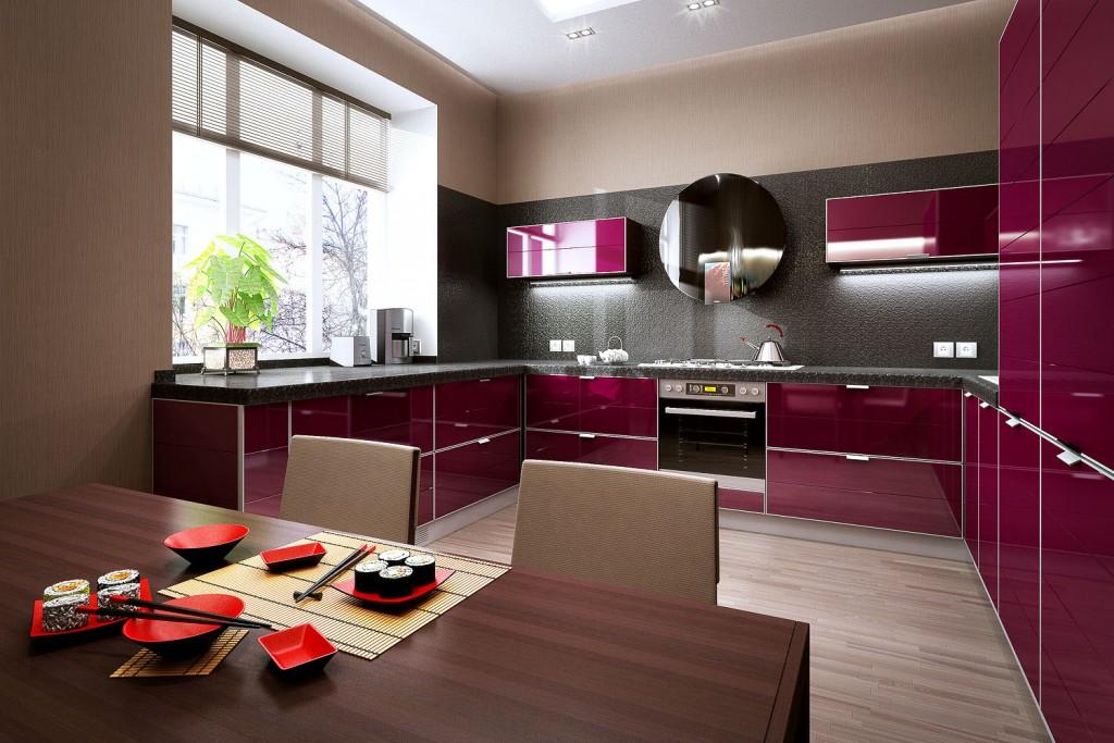 вишневый цвет кухни