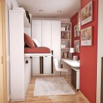комната узкая красная