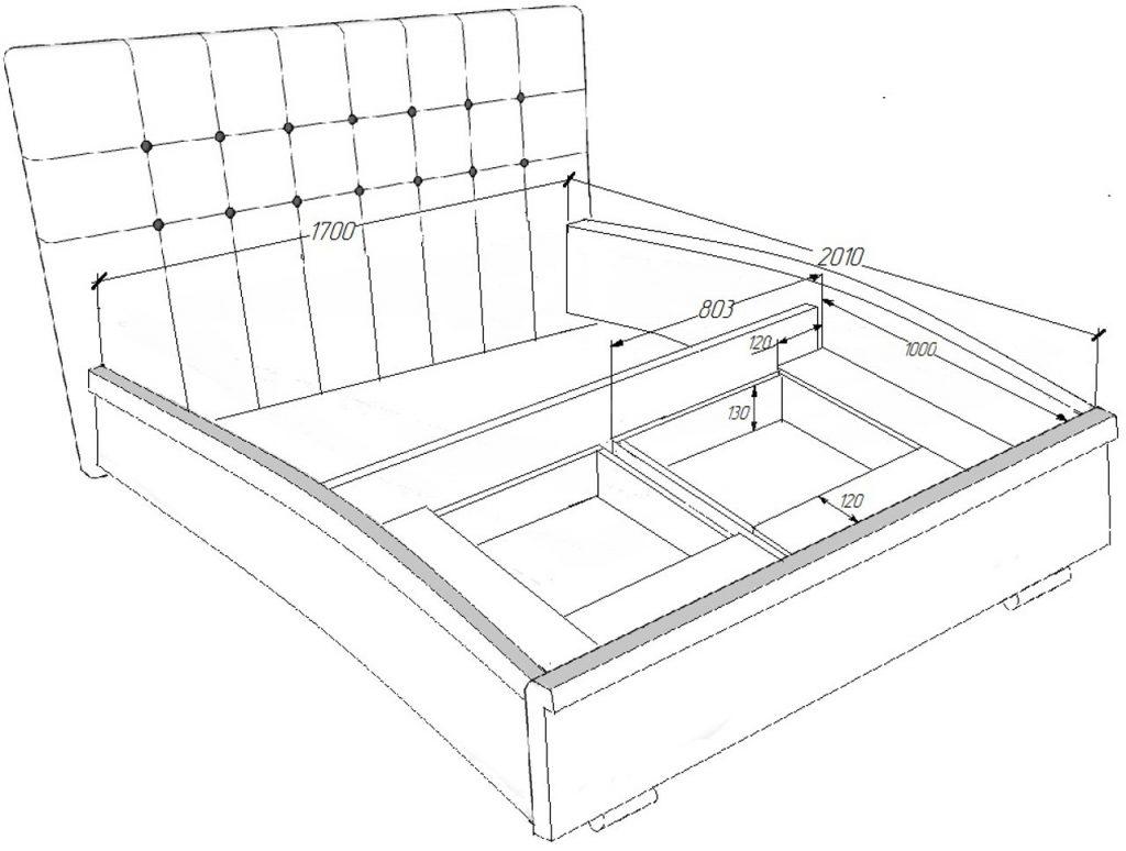 пример эскиза кровати с подъемным механизмом и ящиками