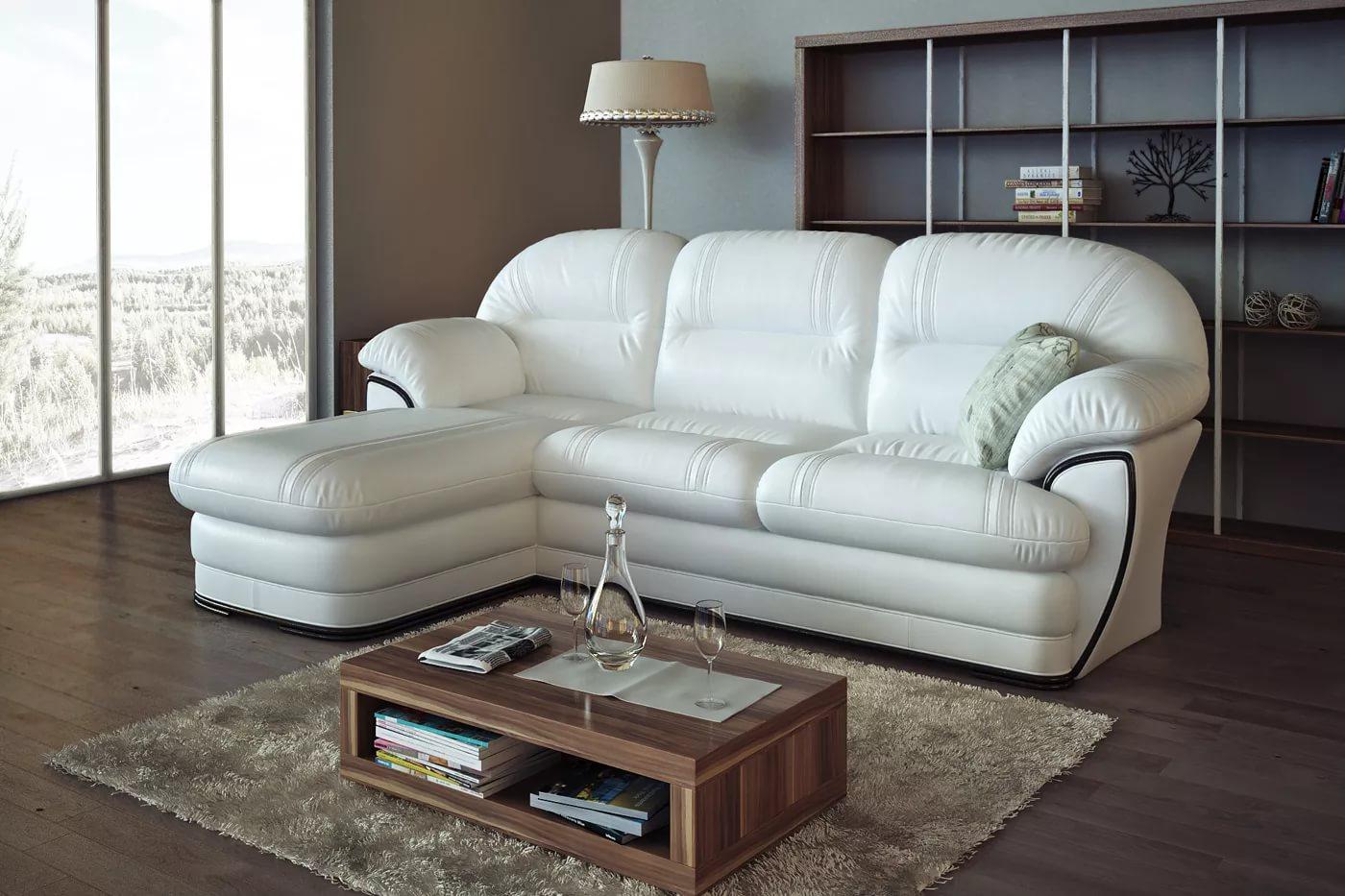 белый диван из экокожи