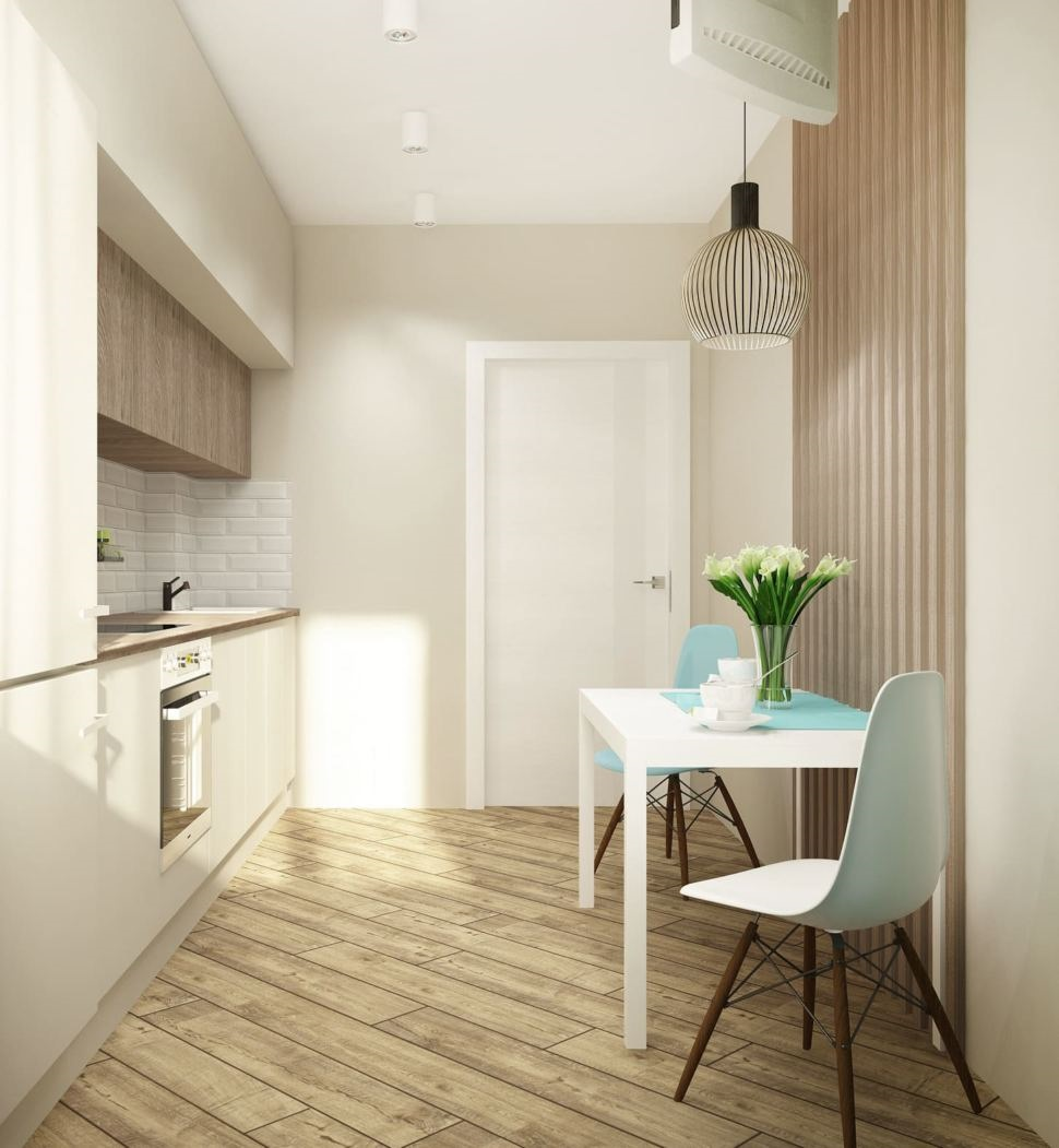 ламинат на полу в белой кухне