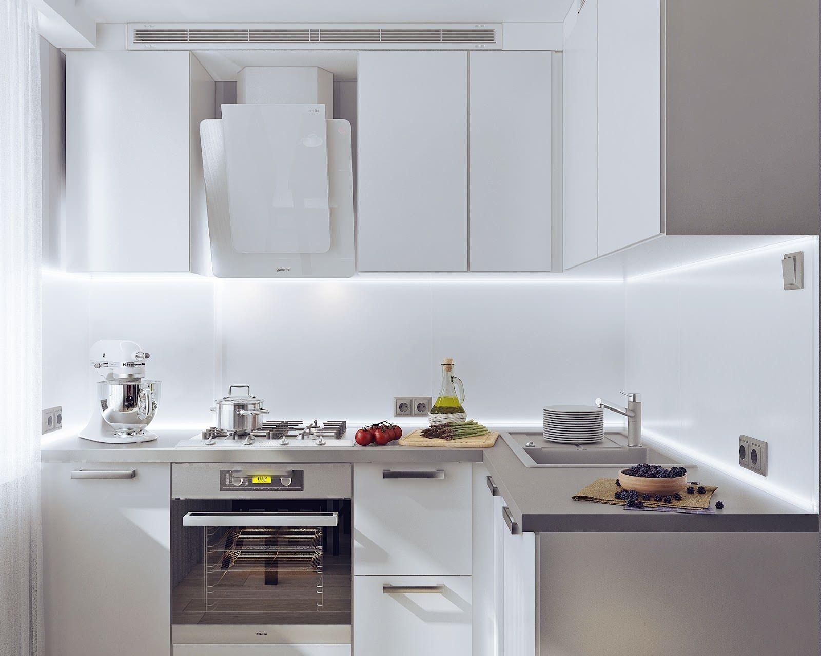 белый с бежевым на кухне