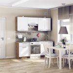 белый кухонный гарнитур с коричневой лампой