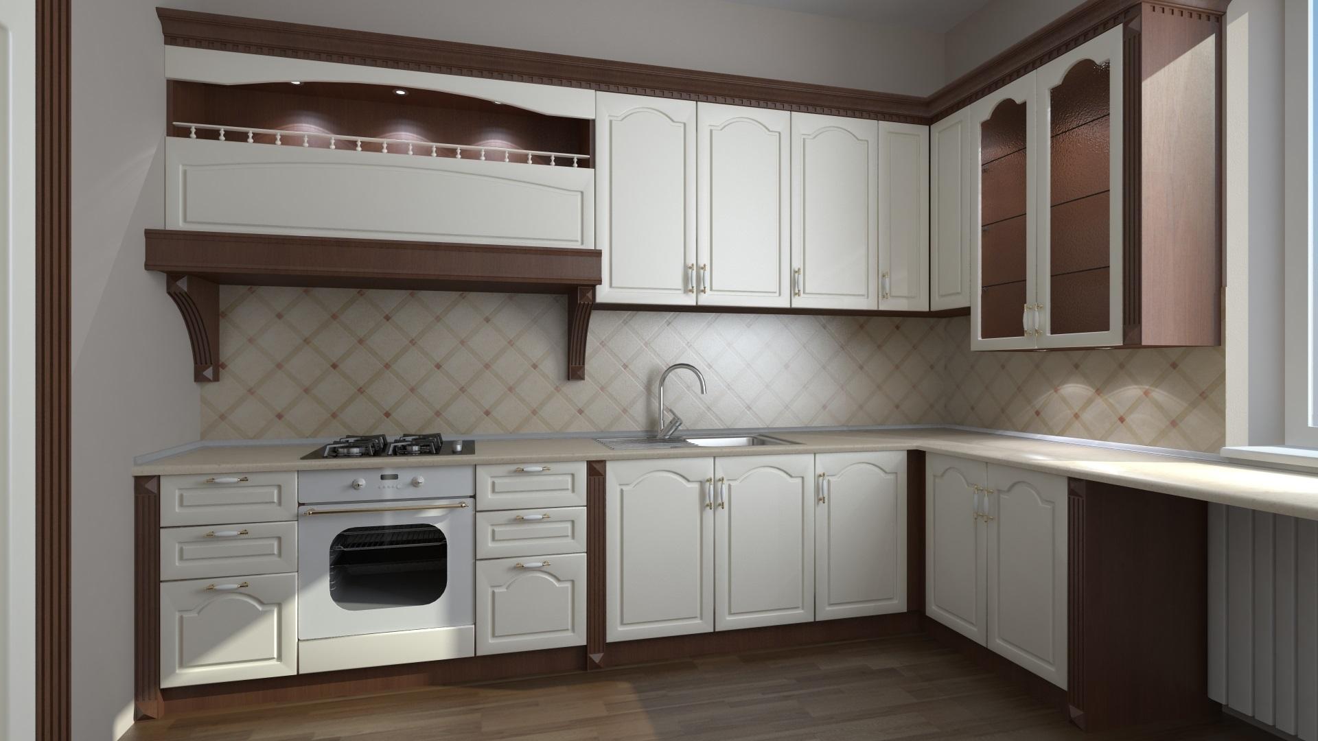 ромбы на фартуке белой кухни