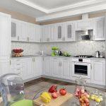 белый кухонный гарнитур с перцами