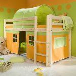 детская двухъярусная кровать зеленая