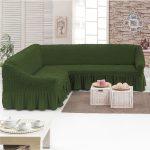 чехол на диван темно-зеленый