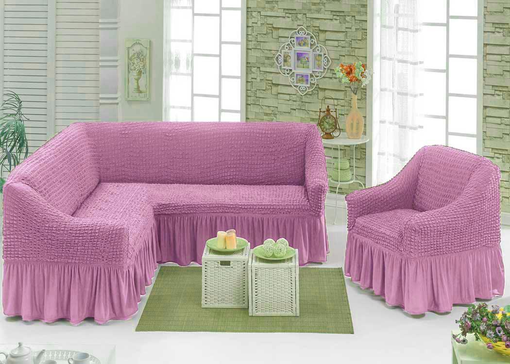 еврочехлы розовые на диван