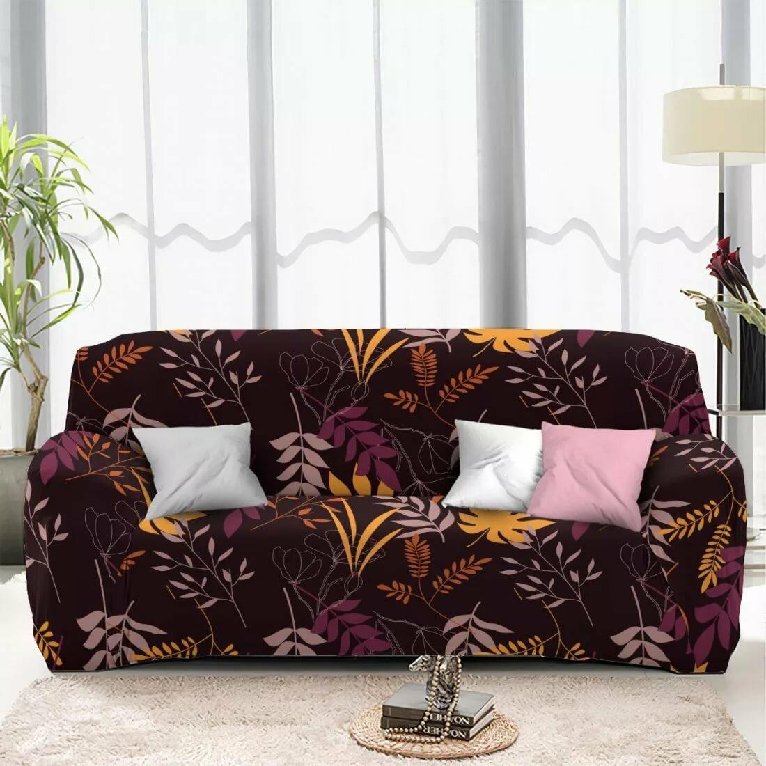 чехол на диван коричневый с листьями