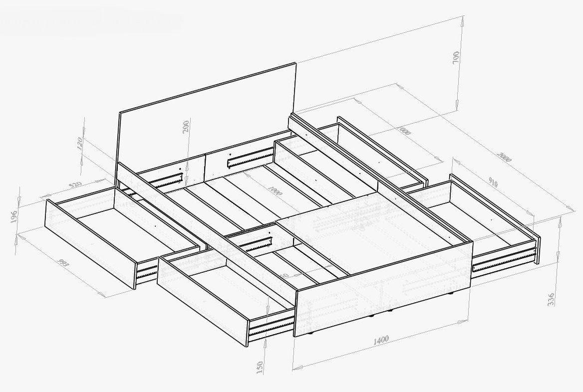 чертеж кровати с ящиками