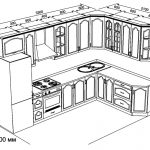 чертеж кухни угловой