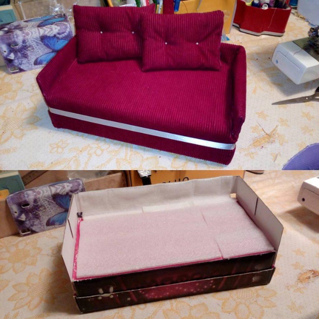 кукольный диван из картона