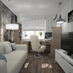 узкая комната кабинет