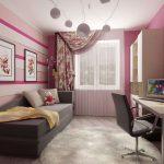 узкая комната розовая