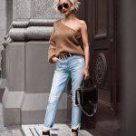 женские варенные джинсы с потертостью