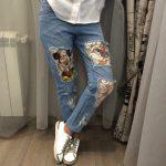 джинсы с дырками и вставками