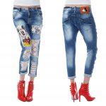 джинсы с кружевом и потертостями