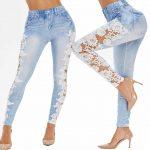 светлые джинсы с кружевом