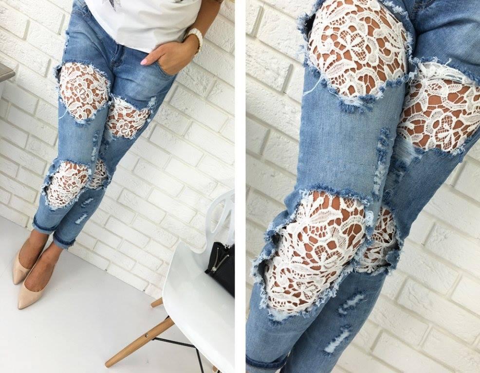 джинсы с кружевными дырками