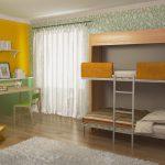кровать двухъярусная желтая