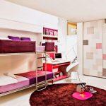 кровать двухъярусная розовая