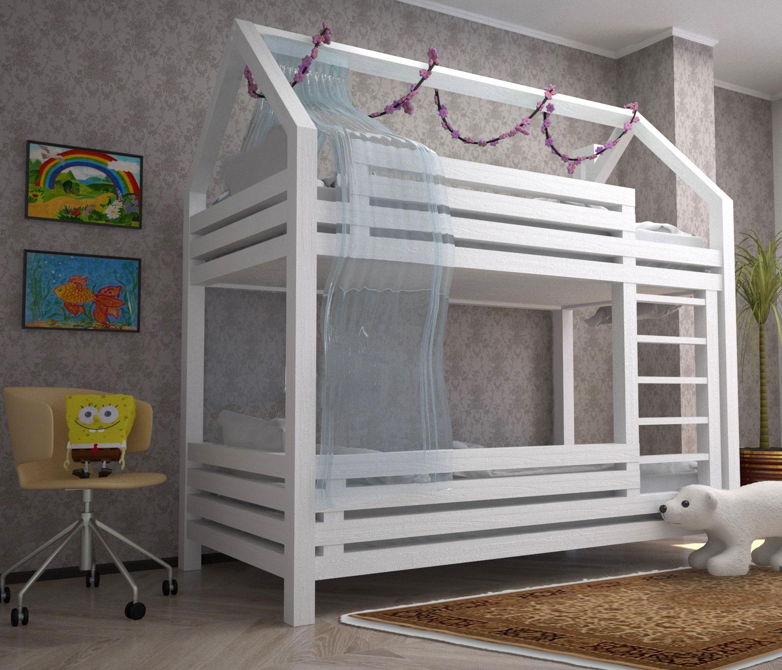 белая кровать скандинавского стиля