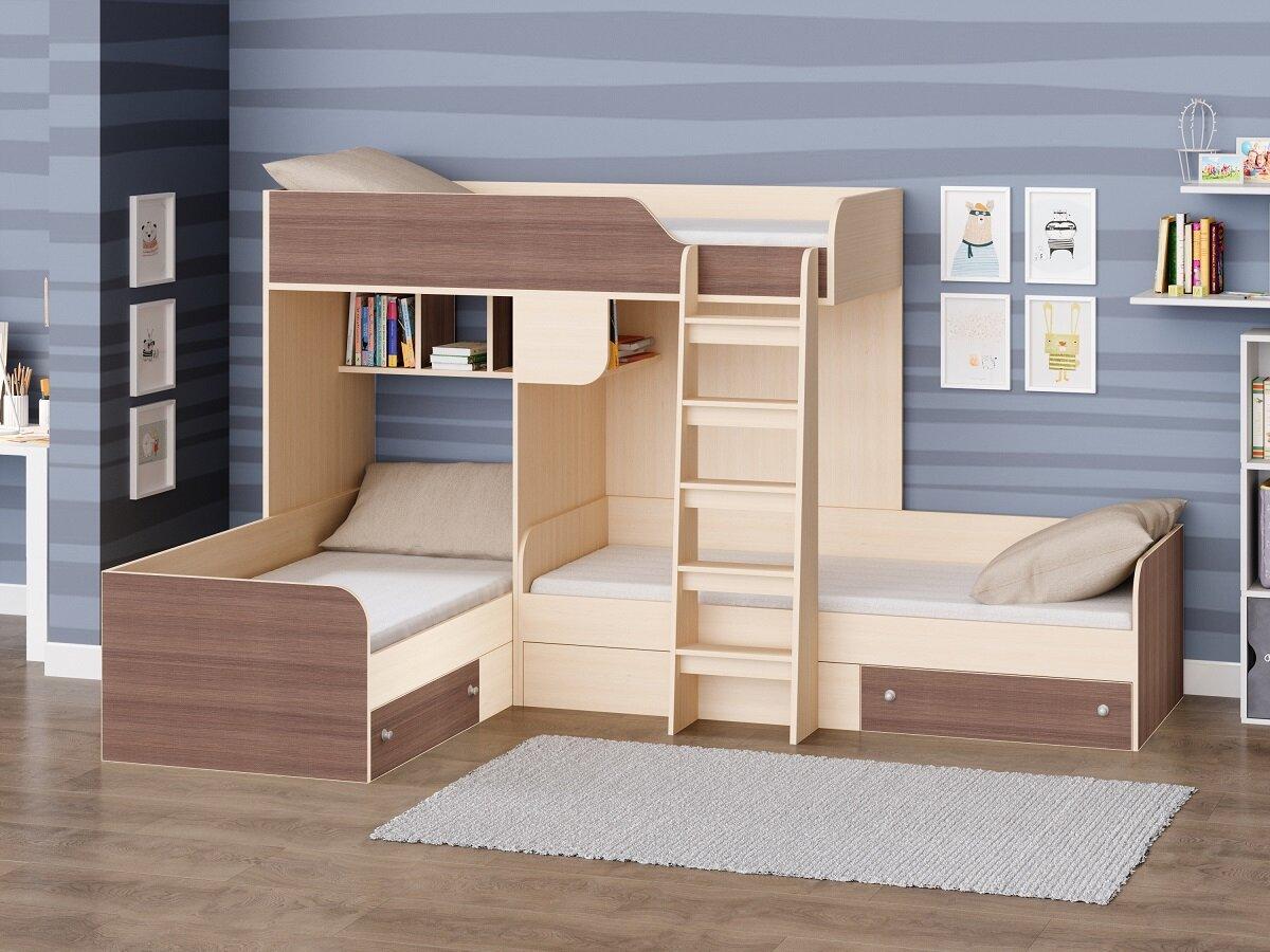 двухъярусная кровать для троих детей