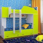 детская двухъярусная кровать желтая