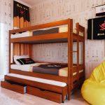 детская двухъярусная кровать коричневая со шкафом